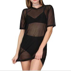 Tops - Short Sleeve Mesh T Shirt Dress